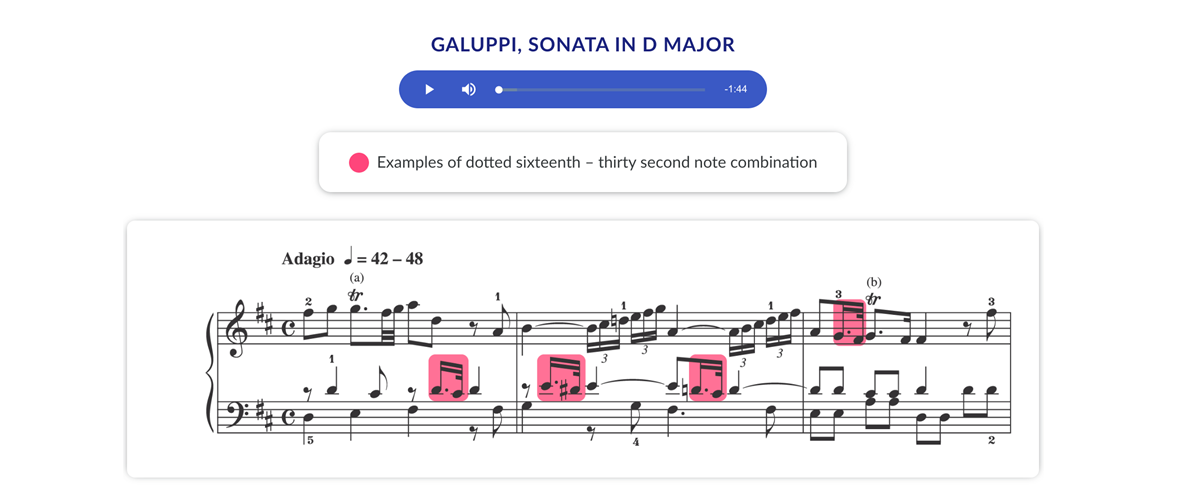 Annotated scores with audio